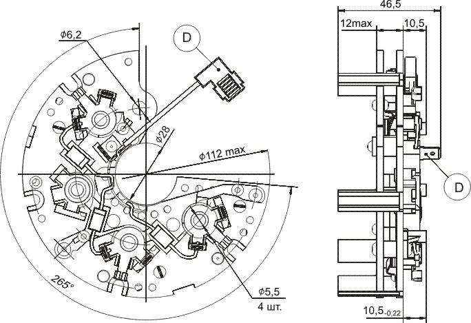 Габаритный чертеж блока выпрямительно-ограничительного БВО11-150-08.