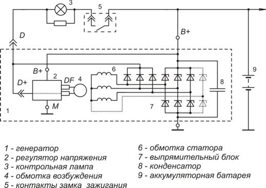 Схема включения регулятора напряжения 9222.3702, 9222.3702И3