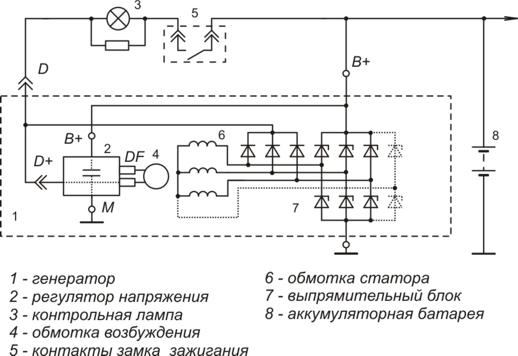 Схема включения регулятора напряжения 9222.3702И2, 9222.3702И4