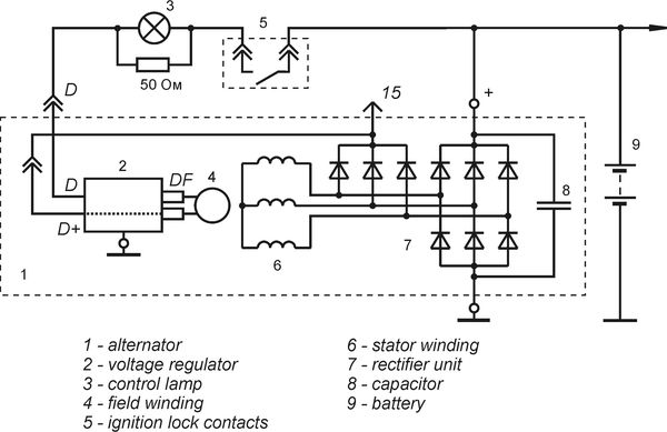 Connection diagram of the voltage regulator 9432.3702-01