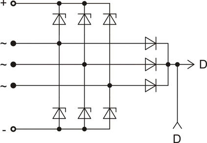 The scheme of restrictive rectifier unit BVO11-150-08