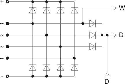 The scheme of restrictive rectifier unit BVO11-150-16