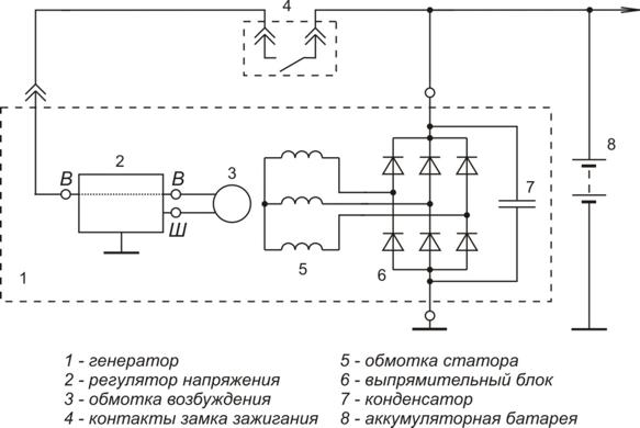 Схема включения регулятора напряжения Я112А1