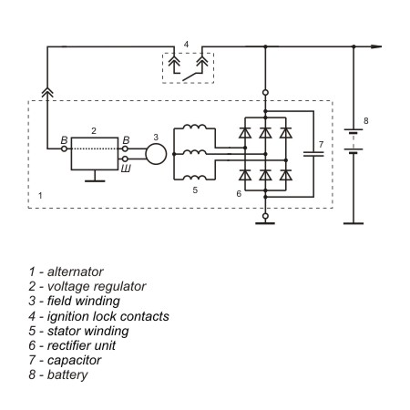 Connection diagram of the voltage regulator JA112A1