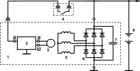 Схема включения регулятора напряжения Я112А