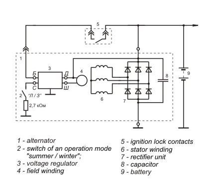 Connection diagram of the voltage regulator JA112B1
