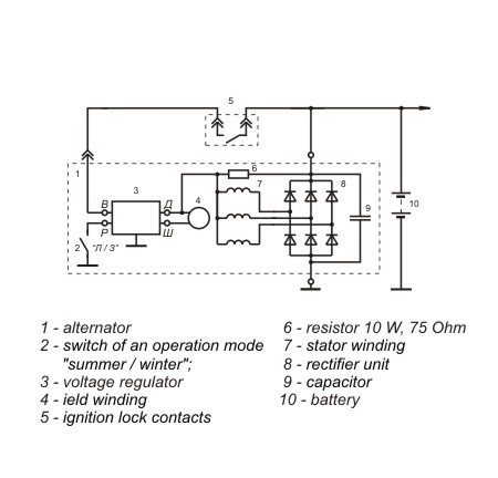Connection diagram of the voltage regulator JA120M1