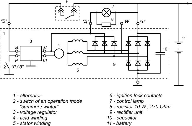 Connection diagram of the voltage regulator JA120M1 version 2
