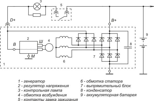 Схема включения регулятора напряжения 5102.3702, 5102.3771.060