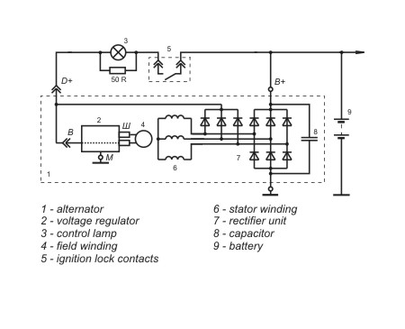 Connection diagram of the voltage regulator 5102.3702