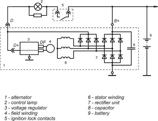 Connection diagram of the voltage regulator 9222.3702