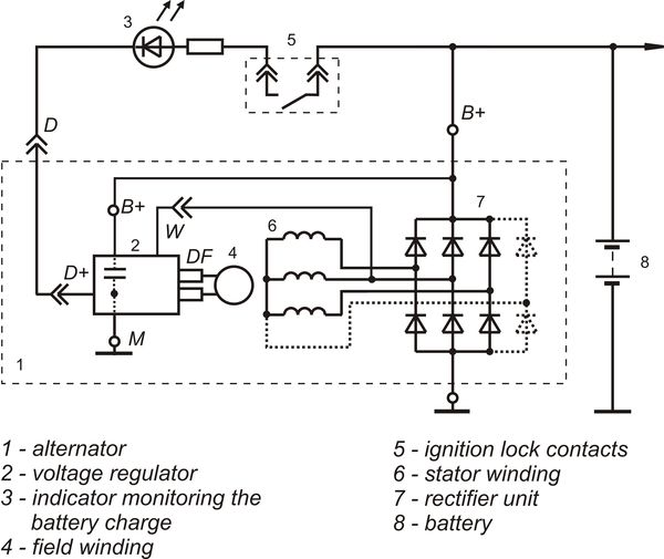 Connection diagram of the voltage regulator 9333.3702-25 version 12