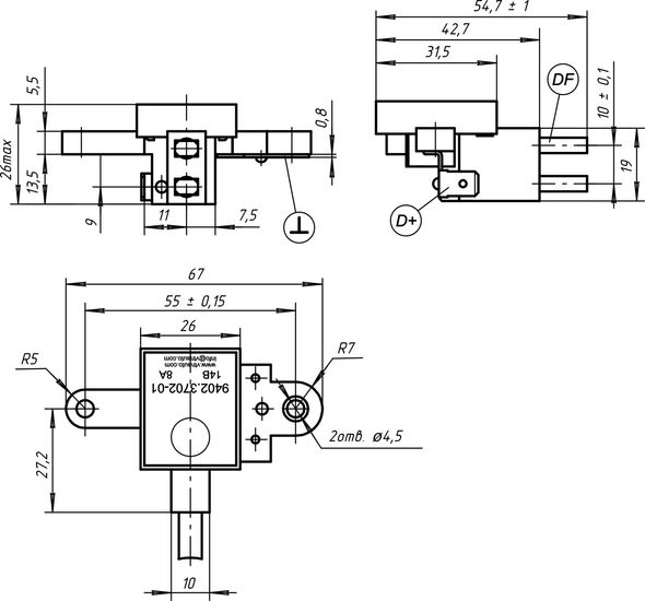 Dimensional drawing of the voltage regulator 9402.3702-01 8A