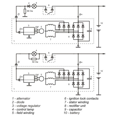 Connection diagram of the voltage regulator 9402.3702-02