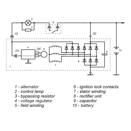 Connection diagram of the voltage regulator 9702.3702