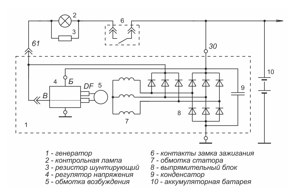 Connection diagram of the voltage regulator 1702.3702-02